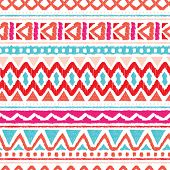 Seamless summer aztec hand drawn geometric background pattern in vector