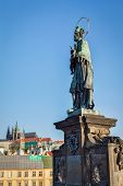 John of Nepomuk (or John Nepomucene) national saint of the Czech Republic statue on Charles Brigde a