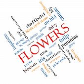 Flowers Word Cloud Concept Angled