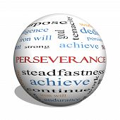 Perseverance 3D Sphere Word Cloud Concept