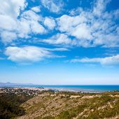 denia in Alicante aerial view Valencian Community of spain with Mediterranean sea