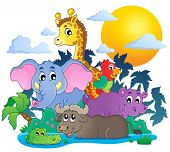 Cute African animals theme image 7 - eps10 vector illustration.