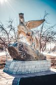 The monument of the Snow leopard in Kazakhstan