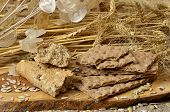image of hardtack  - Cereal crackers and seed on the kitchen