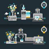 Постер, плакат: Flat design concepts machines for web development and SEO