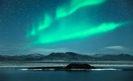 stock photo of light-pole  - Aurora Borealis - JPG