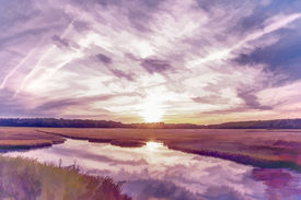 stock photo of marshlands  - Dusk in Old Orchard Maine  - JPG