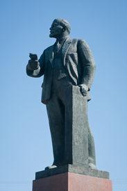 pic of lenin  - Monument of Vladimir Ilyich Lenin on Lenin Square in Simferopol Crimea - JPG