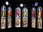 stock photo of stained glass  - Old stained glass in castle - JPG