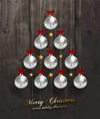Christmas Balls and Stars. Xmas Decorations. Wood Texture Background. Vector.