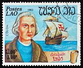 Postage Stamp Laos 1983 Christopher Columbus, Explorer