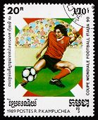 Postage Stamp Cambodia 1990 Soccer Player In Action
