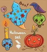 Halloween Set With Ghost, Raven, Pumpkin, Skull, Candle