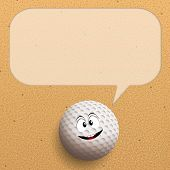 Funny Golf Ball On Sand