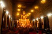 Golden Buddha In Wat Rat Natda Ram Worawihan Monastery.