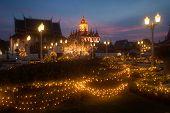 Scenic Of Twilight At Wat Rat Natda Ram Worawihan Monastery.