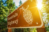 stock photo of sequoia-trees  - Generals Highway Sign in Sequoia National Park California United States - JPG