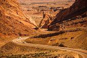 image of semi  - Rocky Desert Utah Highway with Semi Trucks - JPG
