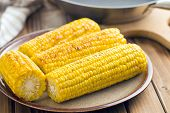 the roasted corn on plate