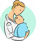 Icon Illustration Featuring a Doctor Cradling a Newborn