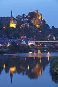 Saarburg - Evangelic Church And Castle Saarburg In The Evening