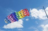stock photo of kites  - colorful fantasy kite at a kite festival in Twenterand Netherlands - JPG