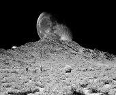image of thunderhead  - Desert moon over the southwestern USA desert and mountains - JPG