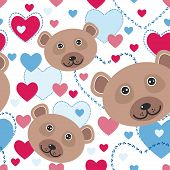 Seamless Pattern With Funny Cute Face Bear, Pink, Blue Heart On A White Background. Vector
