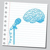 Brain in front of microphone