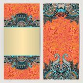 decorative label card for vintage design, ethnic pattern