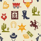picture of wagon  - Western and rodeo seamless background pattern with colored silhouette vector icons of a wagon  bull  cowboy  stetson  boot  necktie  cactus  wanted poster  guns  and money - JPG