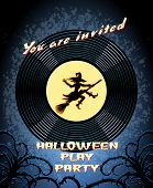 Halloween Play Party Invitation with Witch Graphic