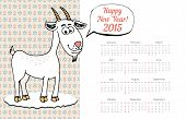 Calendar Template 2015 with Goat Graphic
