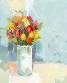 Vase with still life a bouquet of flowers. Oil painting