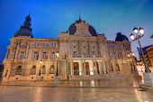 Ayuntamiento de Cartagena sunset city hall at Murcia Spain