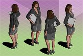 Isometric Woman Secretary Standing