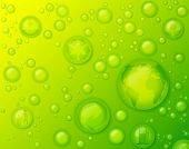 Environmentally friendly concept with water drops on green background