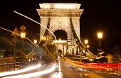 Chain bridge at night with cars Budapest