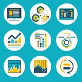 Data Retro Flat Design Style Business Infographics analytic Icons Vector Illustration