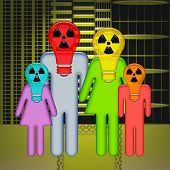 stock photo of nuclear family  - Abstract family standing together with children in respirators on heads with over radioactive wasted city background - JPG