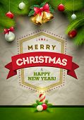Vector Christmas Messages and objects on wrinkled paper background. Elements are layered separately in vector file.