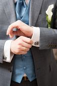 Close-up Of Elegance Groom Hands