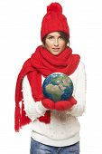 Winter woman with globe