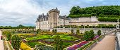 Panorama View At Castle Villandry With Colorful Garden.