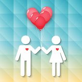 Boy And Girl With Red Heart Balloons