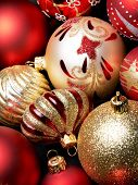 Many christmas balls background closeup