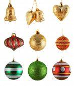 set of christmas balls isolated on white background