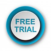 free trial blue modern web icon on white background