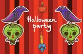 Halloween Vector Background Template With Raven, Pumpkin, Skull, Candle