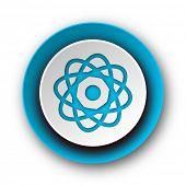 atom blue modern web icon on white background